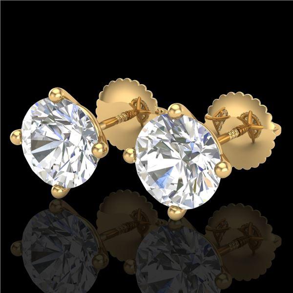 3.01 ctw VS/SI Diamond Solitaire Art Deco Stud Earrings 18k Yellow Gold - REF-908W2H