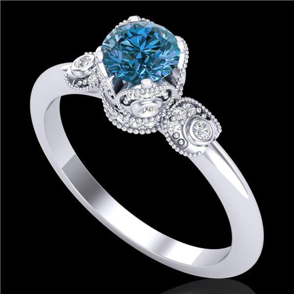1 ctw Intense Blue Diamond Engagment Art Deco Ring 18k White Gold - REF-107X3A