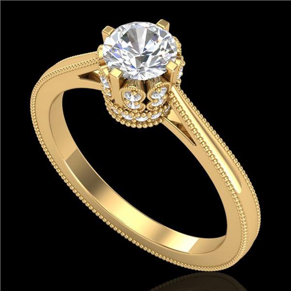 0.81 ctw VS/SI Diamond Art Deco Ring 18k Yellow Gold - REF-140H9R