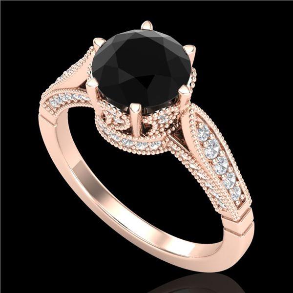 2.2 ctw Fancy Black Diamond Engagment Art Deco Ring 18k Rose Gold - REF-141H8R