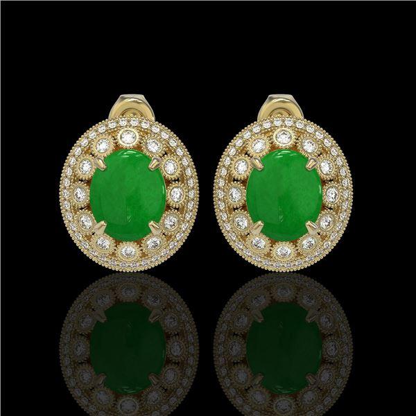 10.61 ctw Jade & Diamond Victorian Earrings 14K Yellow Gold - REF-269X3A