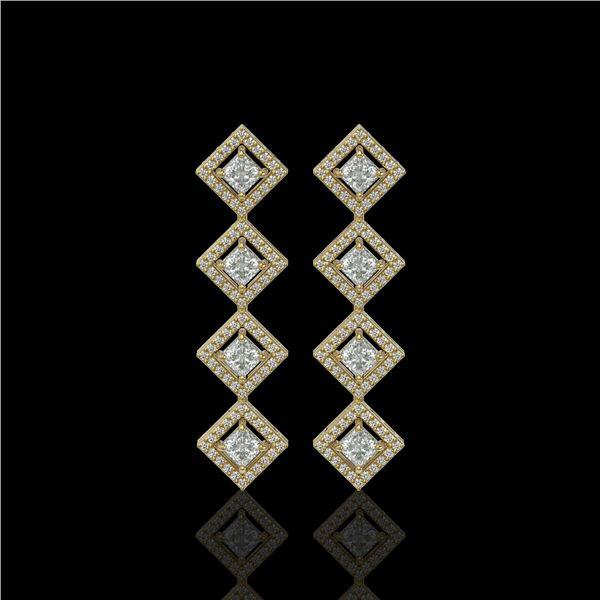 4.01 ctw Princess Cut Diamond Micro Pave Earrings 18K Yellow Gold - REF-346F3M
