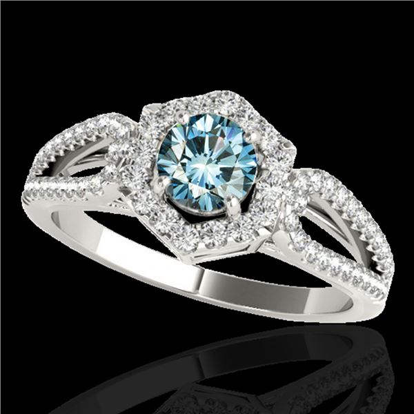1.43 ctw SI Certified Fancy Blue Diamond Halo Ring 10k White Gold - REF-132R3K