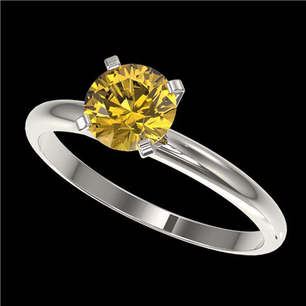 1 ctw Certified Intense Yellow Diamond Engagment Ring 10k White Gold - REF-153N4F