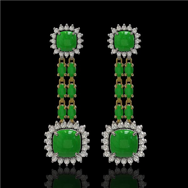16.72 ctw Jade & Diamond Earrings 14K Yellow Gold - REF-226A8N