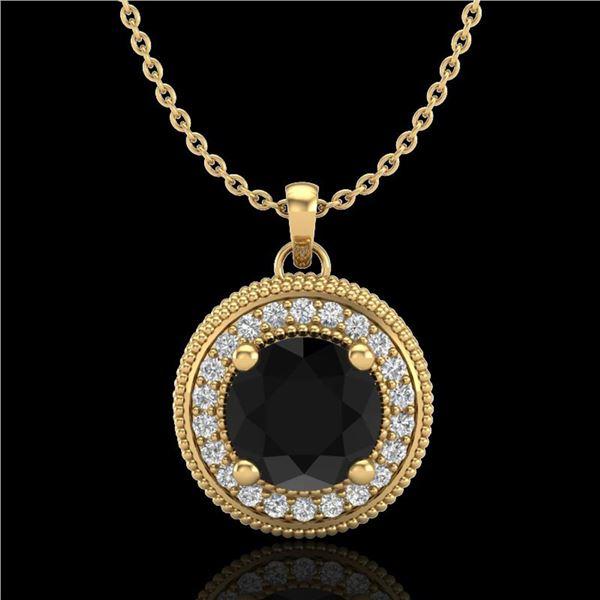 1.25 ctw Fancy Black Diamond Art Deco Stud Necklace 18k Yellow Gold - REF-89R3K