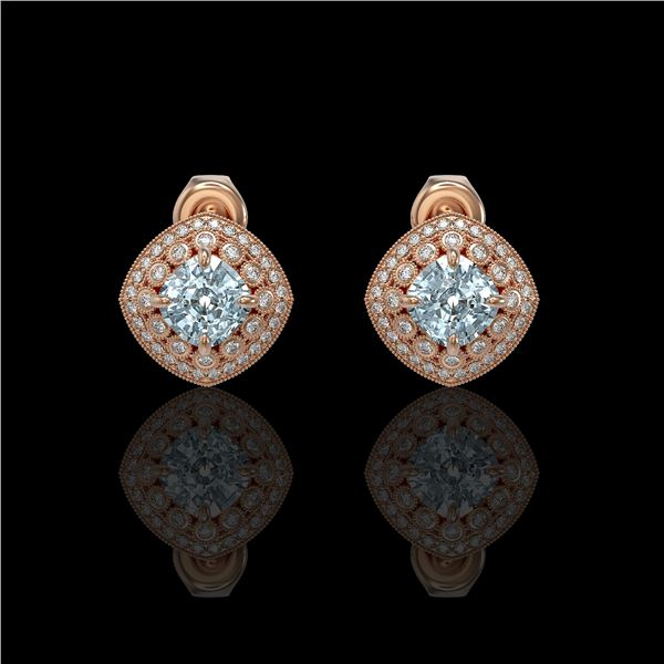 4.39 ctw Aquamarine & Diamond Victorian Earrings 14K Rose Gold - REF-131A8N