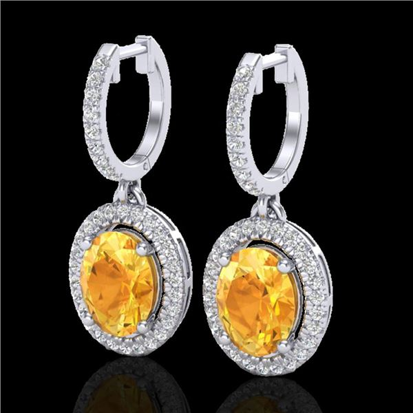 3.50 ctw Citrine & Micro Pave VS/SI Diamond Earrings 18k White Gold - REF-94W5H