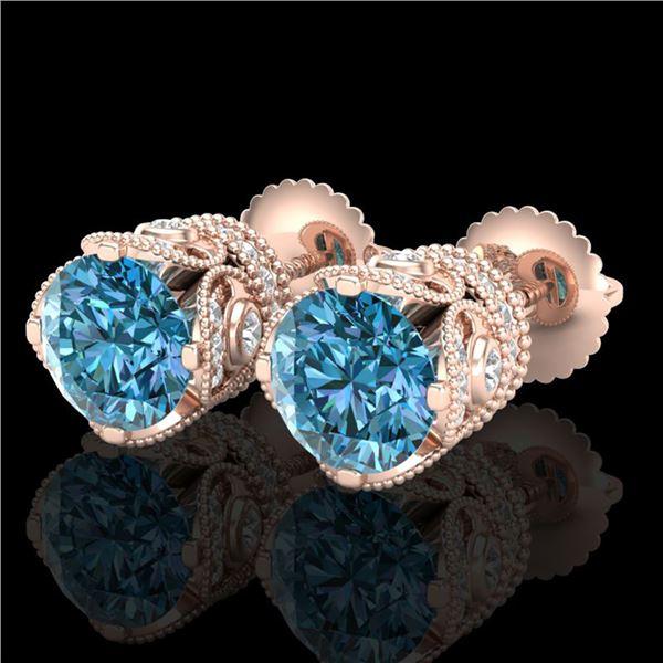 3 ctw Fancy Intense Blue Diamond Art Deco Earrings 18k Rose Gold - REF-572R8K
