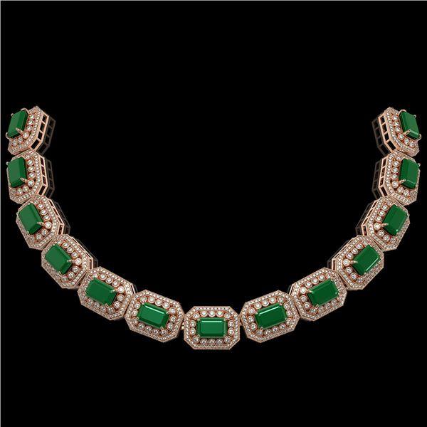 137.65 ctw Emerald & Diamond Victorian Necklace 14K Rose Gold - REF-3181H8R