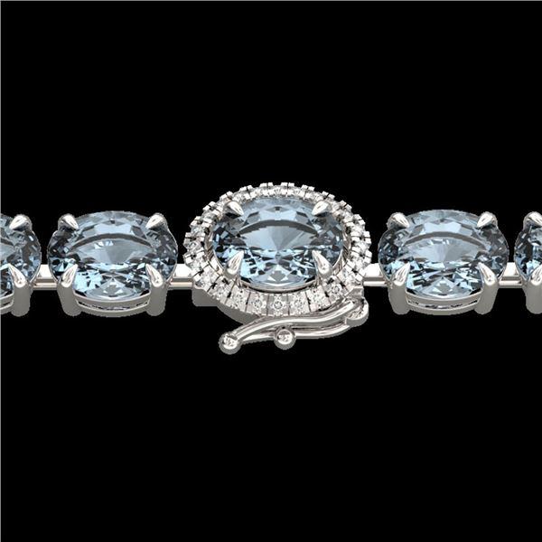15.25 ctw Aquamarine & Diamond Eternity Micro Bracelet 14k White Gold - REF-176A4N