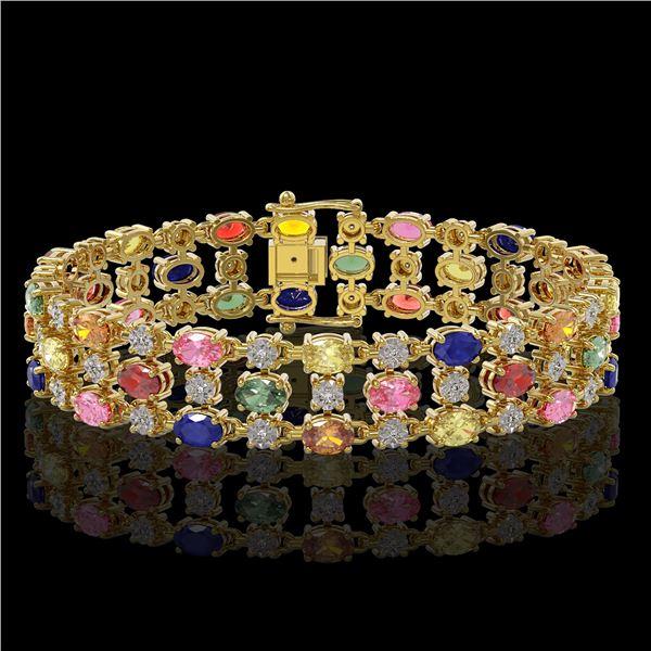 18.16 ctw Multi Color Sapphire & Diamond Row Bracelet 10K Yellow Gold - REF-250Y9X