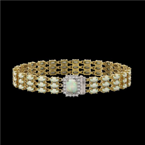 20.23 ctw Opal & Diamond Bracelet 14K Yellow Gold - REF-318F2M
