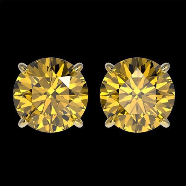 2.57 ctw Certified Intense Yellow Diamond Stud Earrings 10k Yellow Gold - REF-349R8K