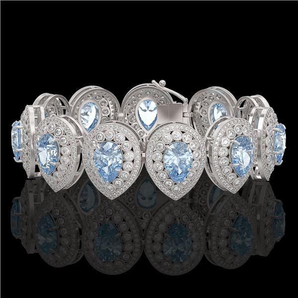 42.94 ctw Aquamarine & Diamond Victorian Bracelet 14K White Gold - REF-1722X9A