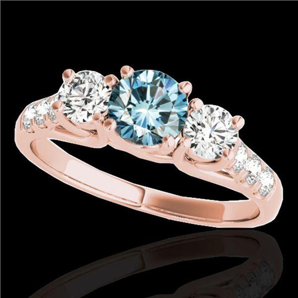 3.25 ctw SI Certified Fancy Blue Diamond 3 Stone Ring 10k Rose Gold - REF-295G9W