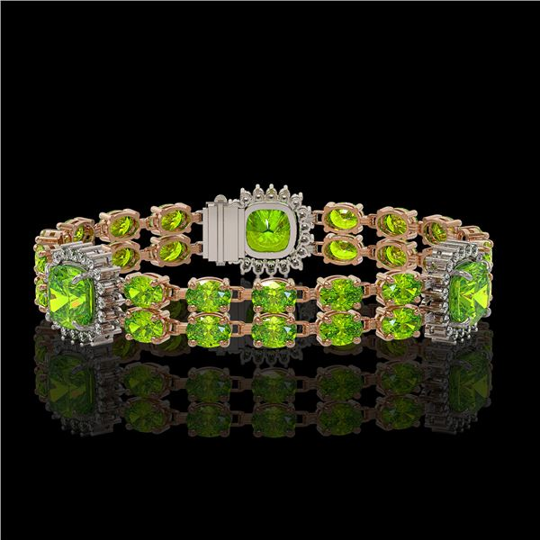 18.93 ctw Peridot & Diamond Bracelet 14K Rose Gold - REF-259K3Y