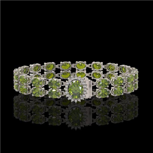 26.92 ctw Tourmaline & Diamond Bracelet 14K White Gold - REF-336F4M