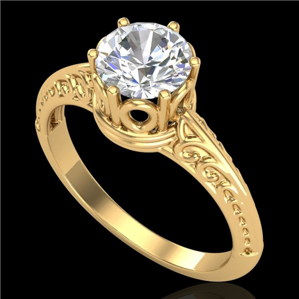 1 ctw VS/SI Diamond Art Deco Ring 18k Yellow Gold - REF-361A8N
