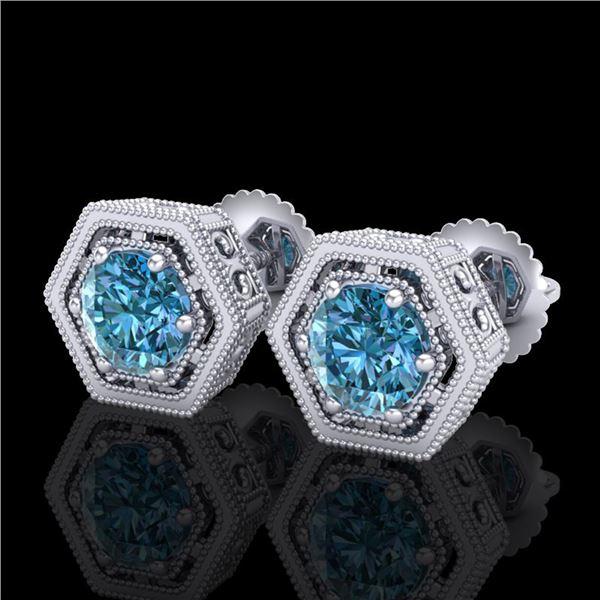 1.07 ctw Fancy Intense Blue Diamond Art Deco Earrings 18k White Gold - REF-131W8H