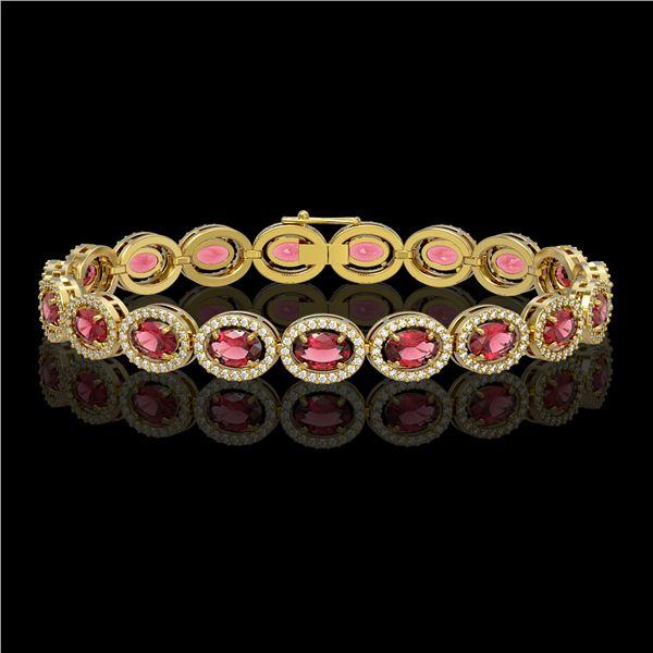13.87 ctw Tourmaline & Diamond Micro Pave Halo Bracelet 10k Yellow Gold - REF-309N3F