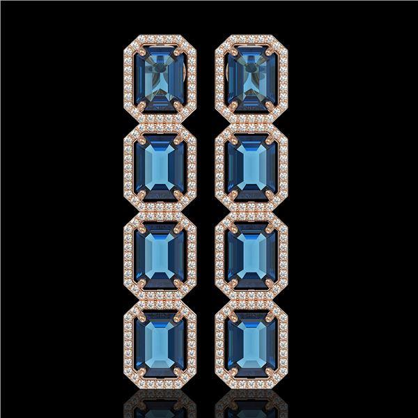 18.99 ctw London Topaz & Diamond Micro Pave Halo Earrings 10k Rose Gold - REF-184K4Y