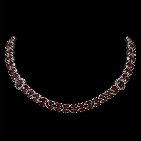 32.67 ctw Garnet & Diamond Necklace 14K White Gold - REF-454G5W