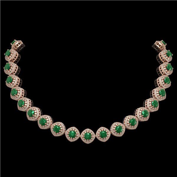 82.17 ctw Emerald & Diamond Victorian Necklace 14K Rose Gold - REF-1800F2M