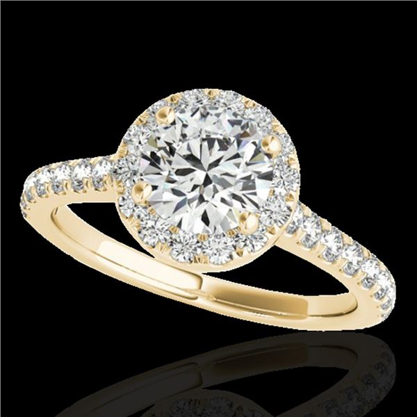 1.4 ctw Certified Diamond Solitaire Halo Ring 10k Yellow Gold - REF-190M9G