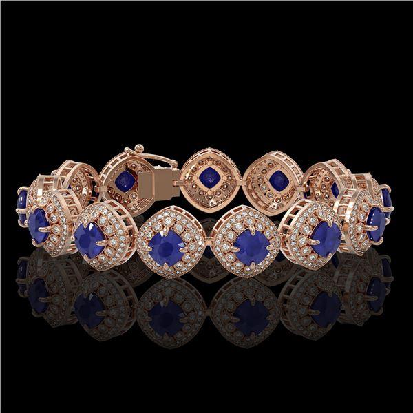 37.35 ctw Sapphire & Diamond Victorian Bracelet 14K Rose Gold - REF-870Y9X
