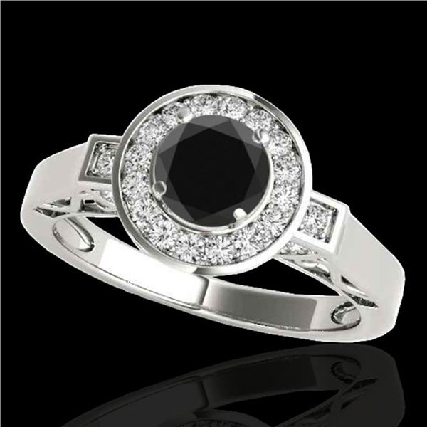 1.5 ctw Certified VS Black Diamond Solitaire Halo Ring 10k White Gold - REF-62X8A
