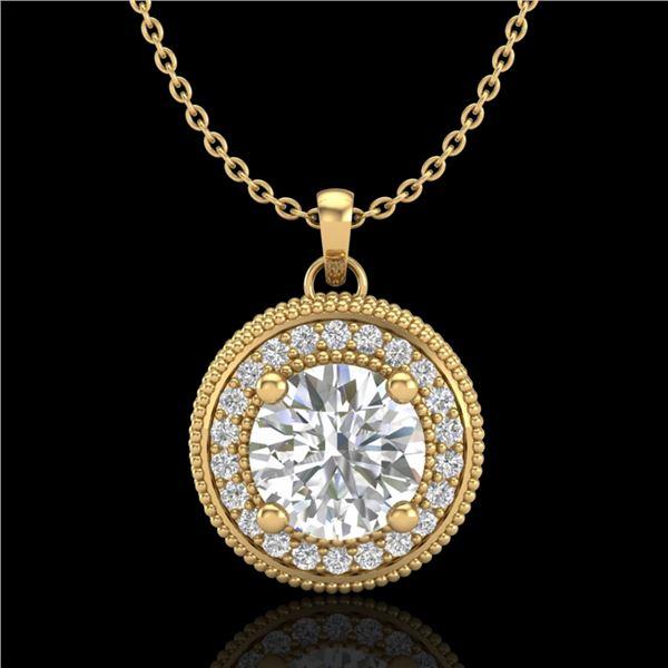 1.25 ctw VS/SI Diamond Solitaire Art Deco Necklace 18k Yellow Gold - REF-218F2M