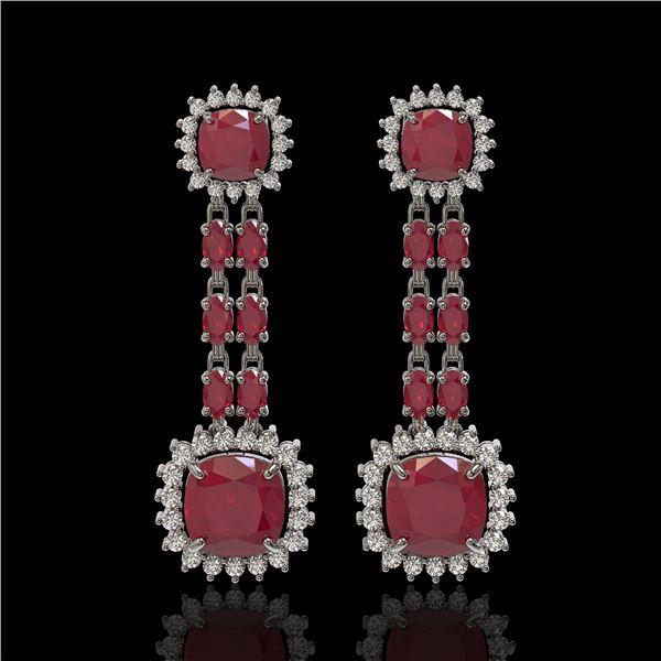 19.88 ctw Ruby & Diamond Earrings 14K White Gold - REF-336X4A