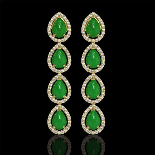 6.20 ctw Jade & Diamond Micro Pave Halo Earrings 10k Yellow Gold - REF-158W2H