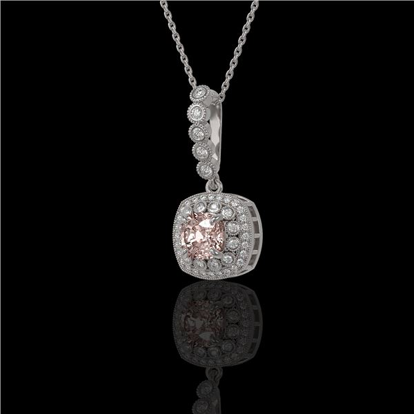 2.15 ctw Morganite & Diamond Victorian Necklace 14K White Gold - REF-86N8F