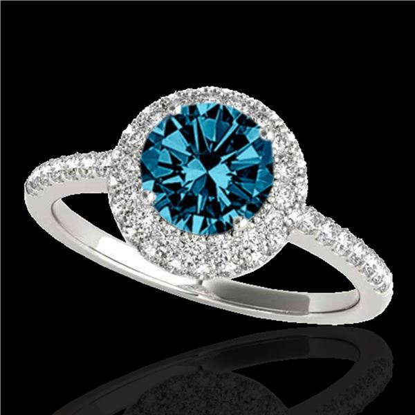 1.6 ctw SI Certified Fancy Blue Diamond Solitaire Halo Ring 10k White Gold - REF-126K8Y