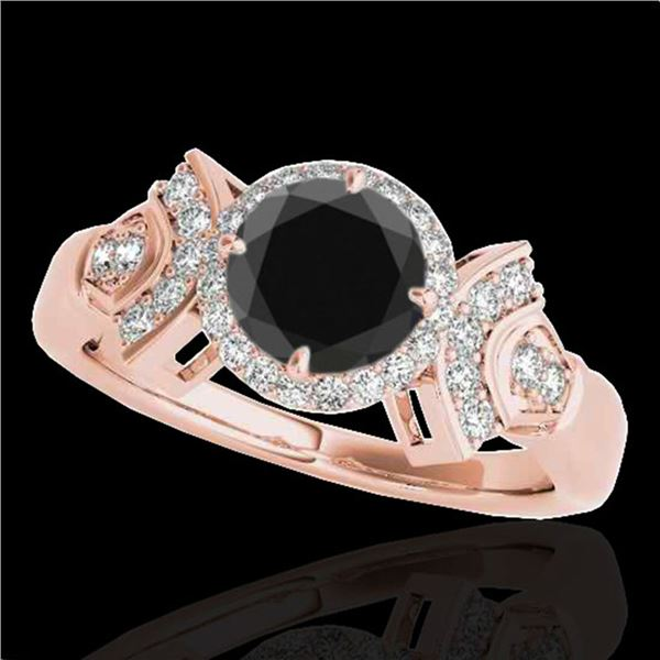 1.56 ctw Certified VS Black Diamond Solitaire Halo Ring 10k Rose Gold - REF-57Y3X