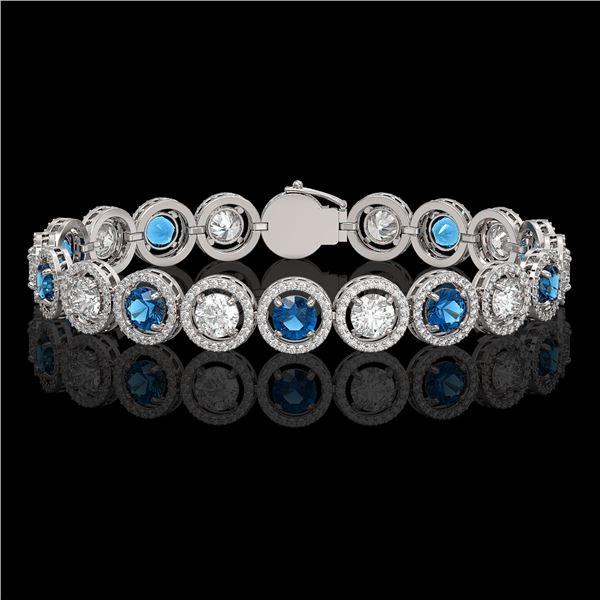 13.56 ctw Blue & Diamond Micro Pave Bracelet 18K White Gold - REF-2426K6Y