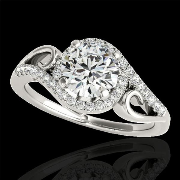 1.25 ctw Certified Diamond Solitaire Halo Ring 10k White Gold - REF-190F9M