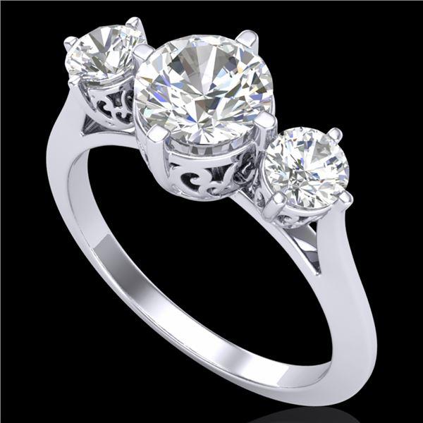 1.51 ctw VS/SI Diamond Solitaire Art Deco 3 Stone Ring 18k White Gold - REF-427A3N