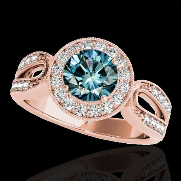 1.4 ctw SI Certified Fancy Blue Diamond Solitaire Halo Ring 10k Rose Gold - REF-130W6H
