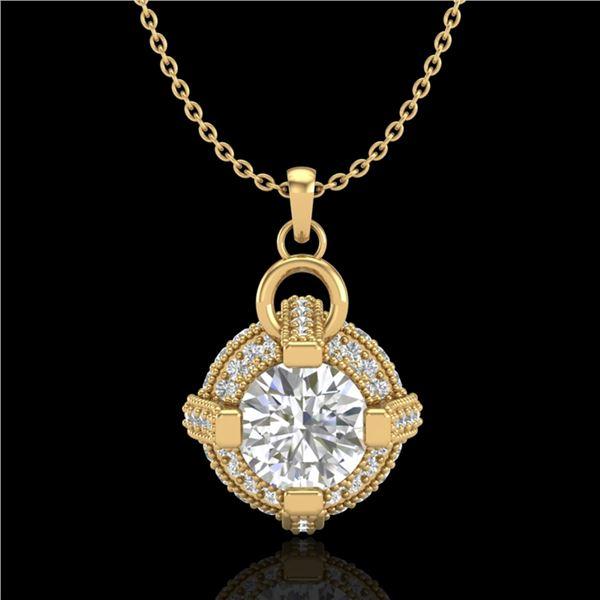 1.57 ctw VS/SI Diamond Micro Pave Stud Necklace 18k Yellow Gold - REF-229M3G