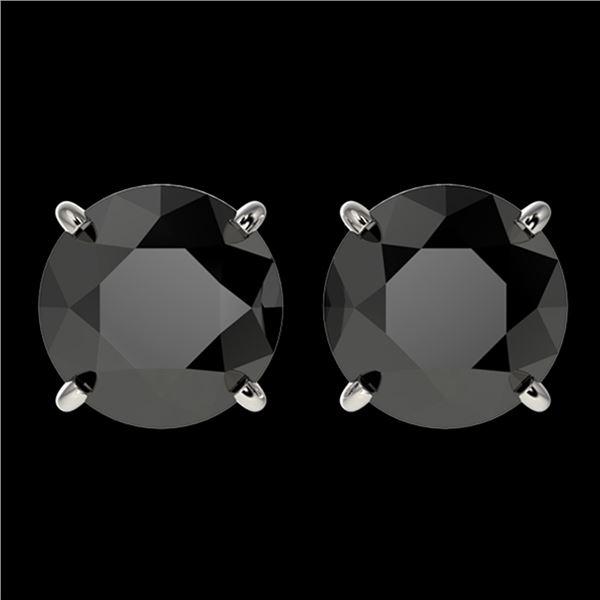 3 ctw Fancy Black Diamond Solitaire Stud Earrings 10k White Gold - REF-60G3W