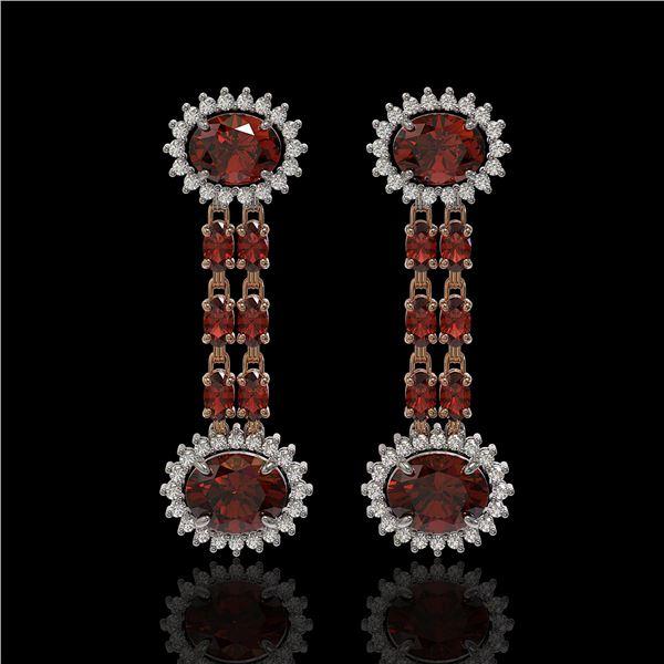 8.87 ctw Garnet & Diamond Earrings 14K Rose Gold - REF-144G2W