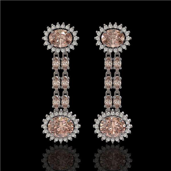 8.35 ctw Morganite & Diamond Earrings 14K White Gold - REF-227M3G