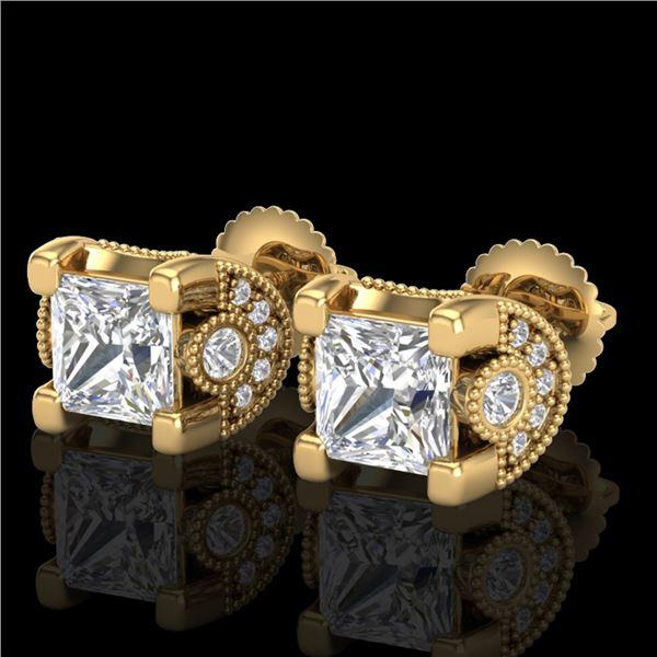 2.5 ctw Princess VS/SI Diamond Art Deco Stud Earrings 18k Yellow Gold - REF-585F2M