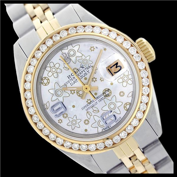 Rolex Ladies Two Tone 14K Gold/SS, Arabic Dial with Diamond Bezel, Sapphire Crystal