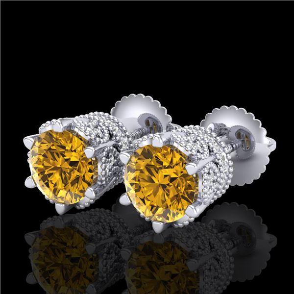 2.04 ctw Intense Fancy Yellow Diamond Art Deco Earrings 18k White Gold - REF-290G9W