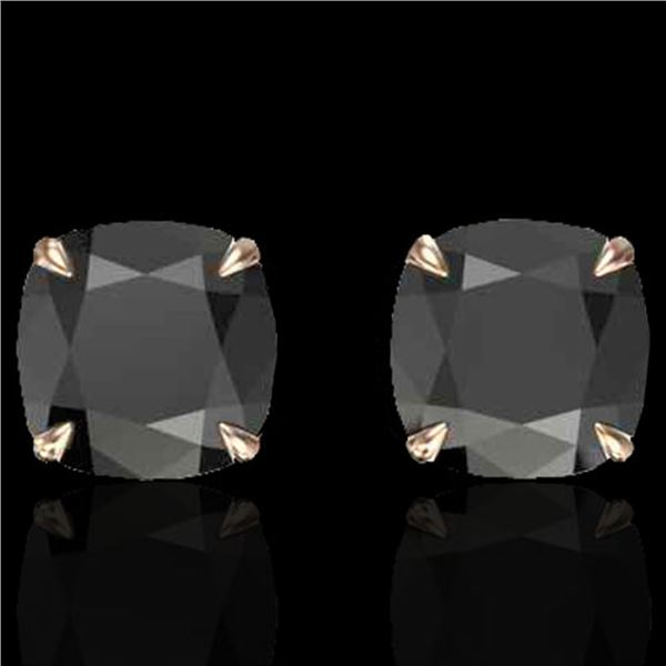 6 ctw Cushion Black Diamond Designer Earrings 14k Rose Gold - REF-163R6K