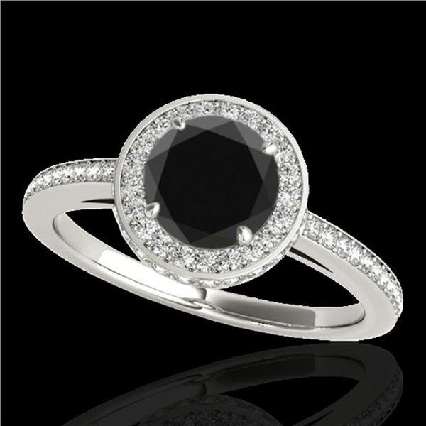 1.55 ctw Certified VS Black Diamond Solitaire Halo Ring 10k White Gold - REF-65M2G